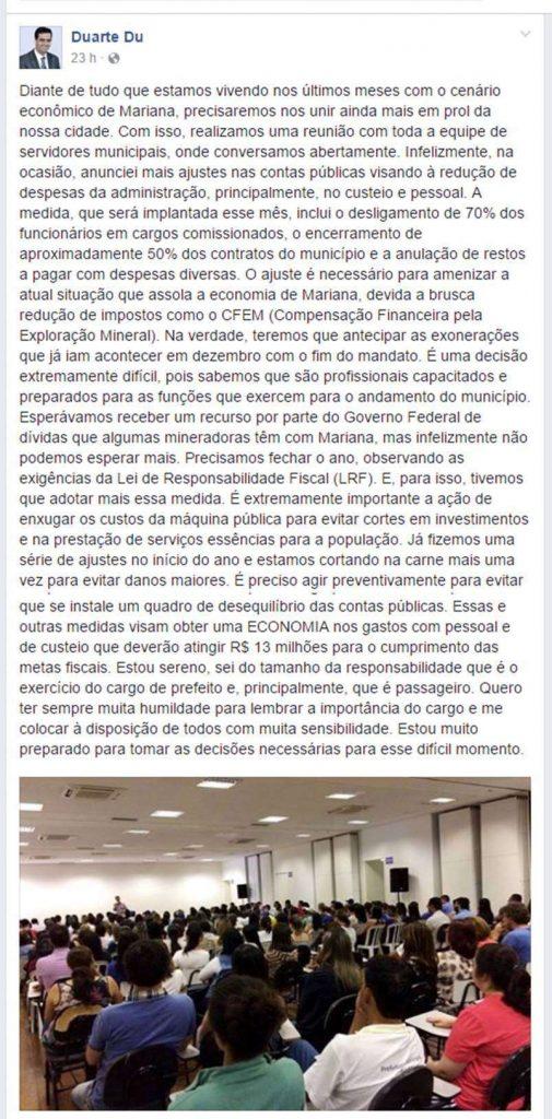 Prefeito Duarte Júnior anuncia corte de 70% dos funcionários comissionados e outras medidas