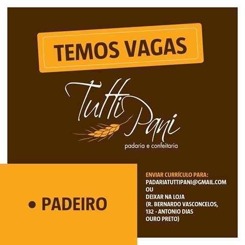 Padaria em Ouro Preto contrata Padeiro