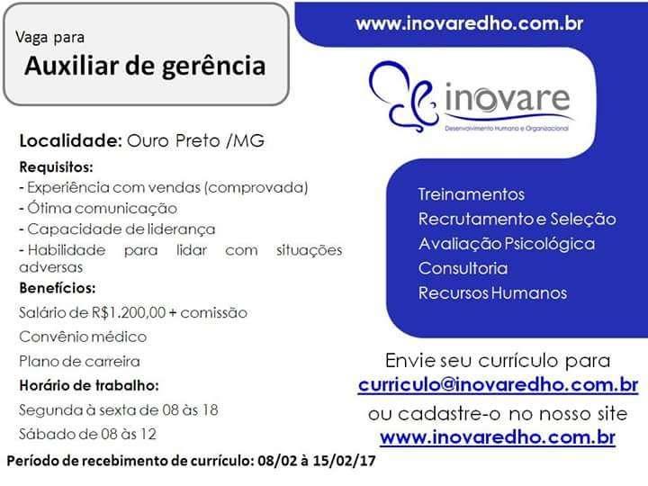 Vagas de Vendedor e Auxiliar de Gerência em Ouro Preto