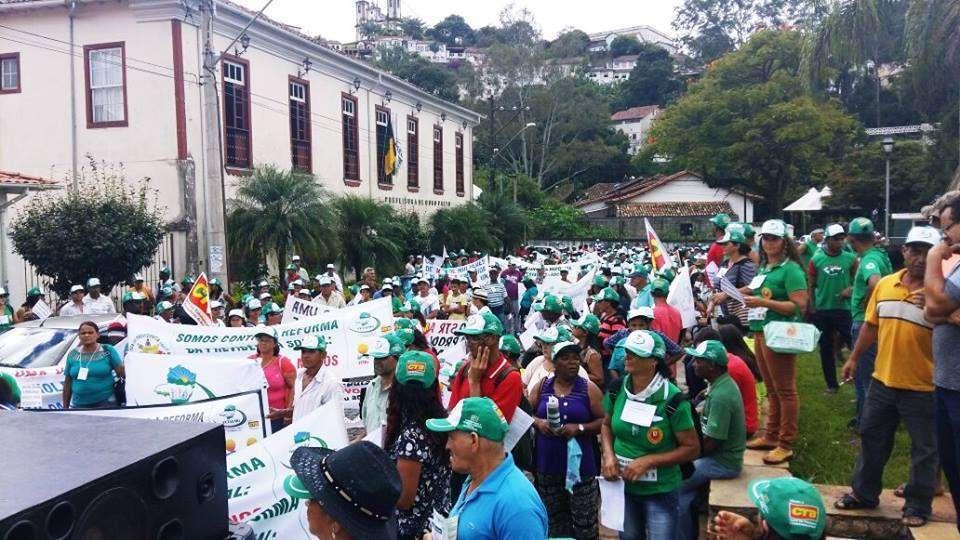 Foto: Trabalhadores Rurais realizam ato contra a Reforma da Previdência em Ouro Preto - Leleco Pimentel